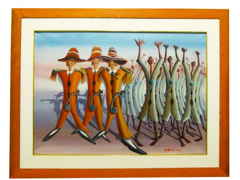 Africans and Mexicans, losers and winners - Modern Painting 70x50