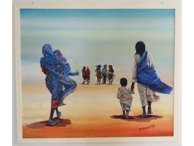 Donne Africane nel deserto - Quadro Moderno d'autore 127x107