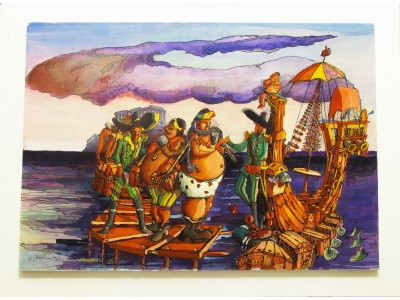 Pirates at boarding - Modern painting by author 76x52