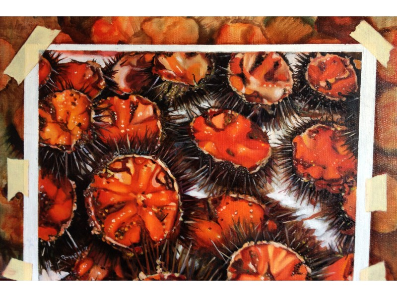 Sea urchins, true or false? - Modern painting by author 40x50